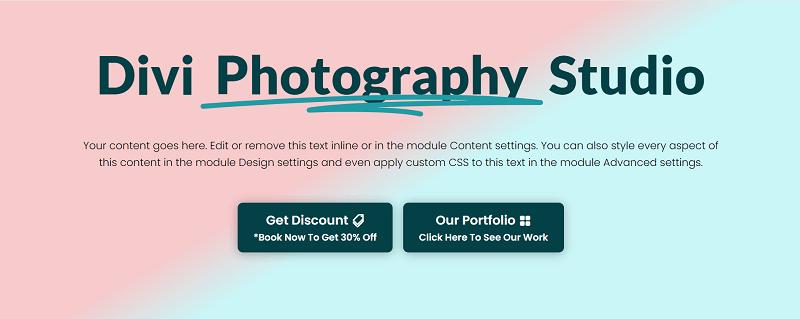 Hero - Divi Photography Studio