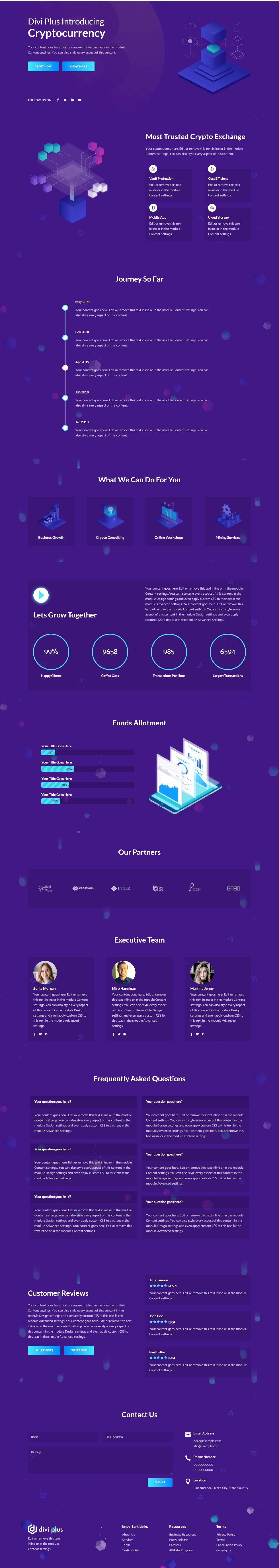 Divi Plus Crypto layout