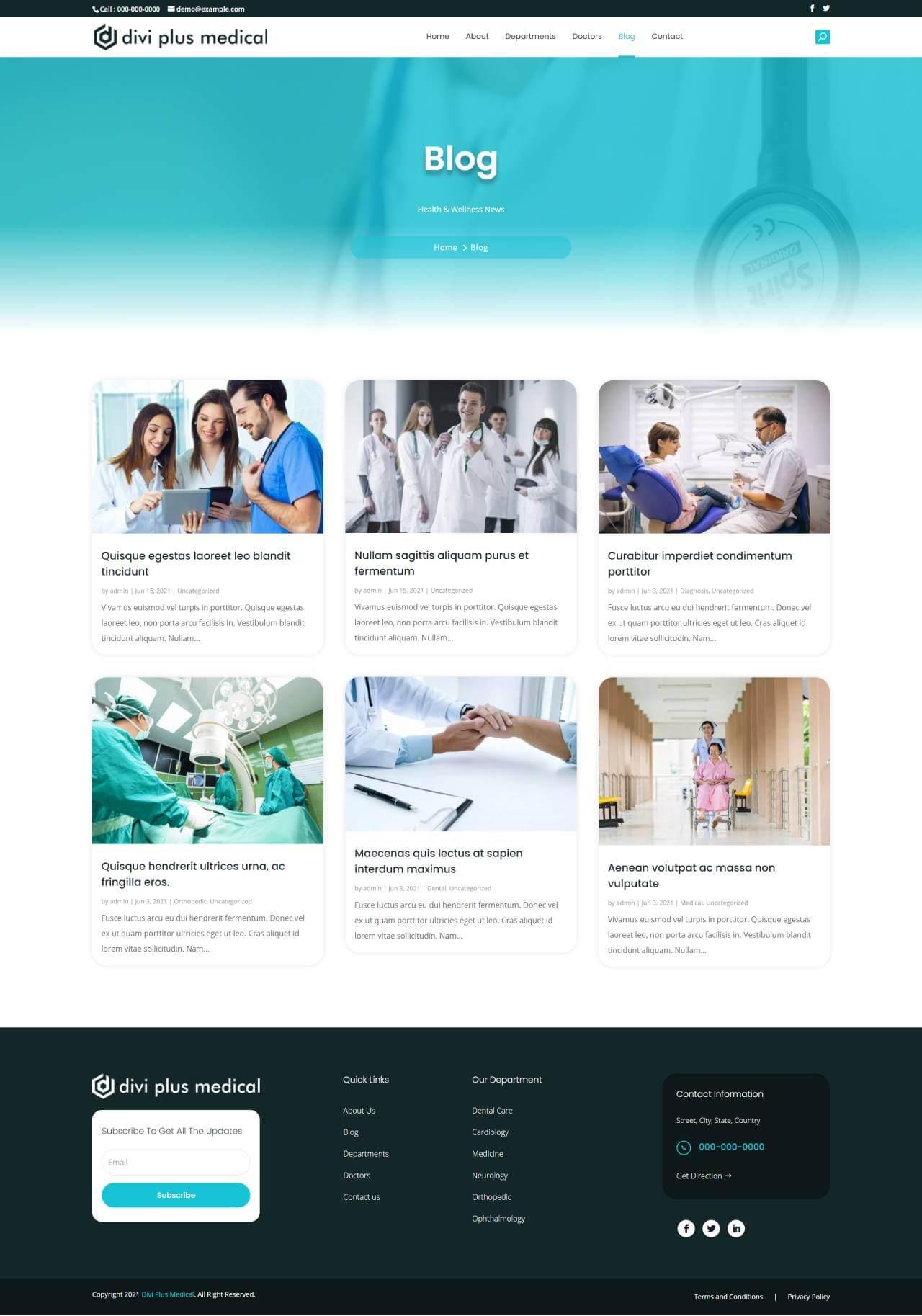 Divi Plus Medical Child Theme Blog