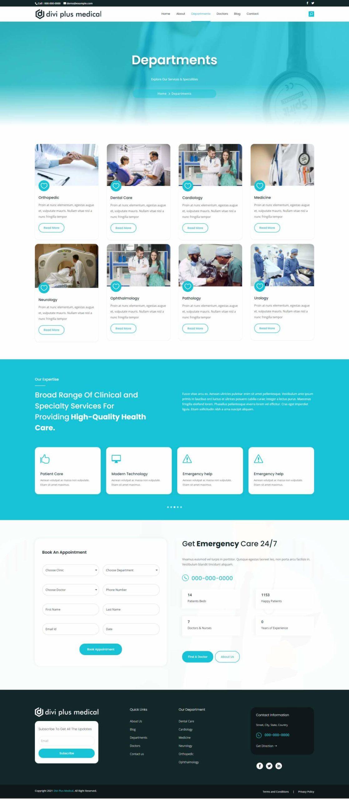 Divi Plus Medical Child Theme Departments